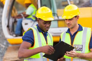 construction co-workers discussing about work plan construction