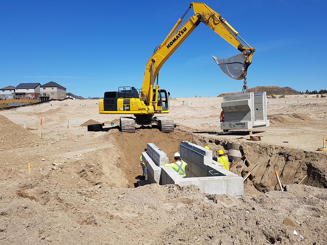 Precast Concrete Inlet Trench installation in Kitchener, Ontario