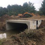 Installation of heavy precast culvert on Rock Glen Road by Coldstream Concrete