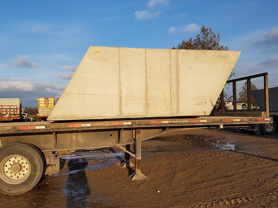 All-skew precast concrete box culvert delivered to New Scotland Line, Chatham Kent, Ontario