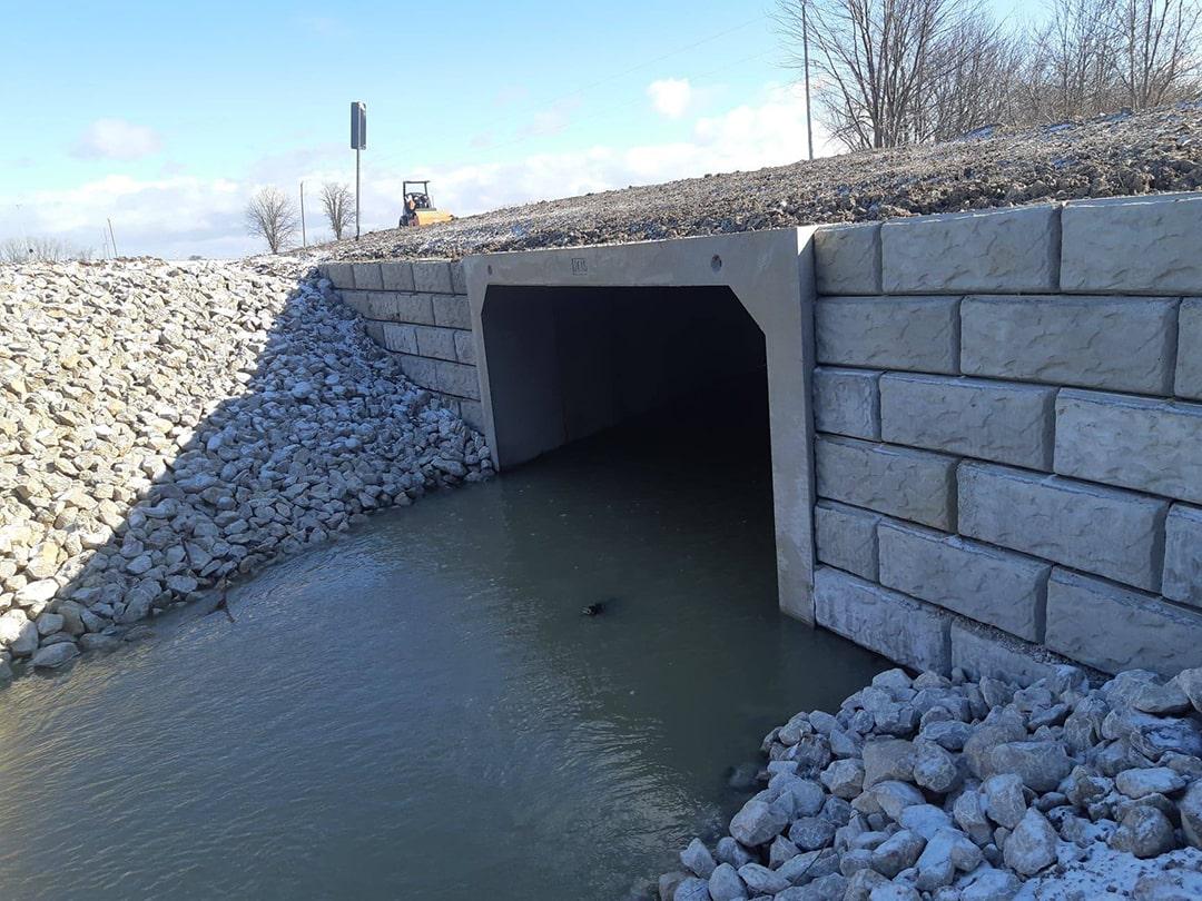 Precast Concrete All Skew Culvert installed at Mollard Line